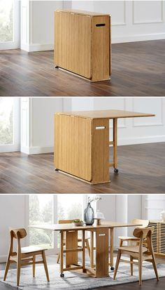 Twenty dining tables that work great in small spaces - Living in a shoebox Folding Furniture, Space Saving Furniture, Home Furniture, Furniture Design, Space Saving Table, Compact Furniture, Multifunctional Furniture Small Spaces, Table Furniture, Dining Table Small Space
