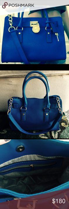 Blue Michael Kors purse Blue Michael Kors purse! MK designer mimic style Blue and gold Michael Kors Bags Shoulder Bags