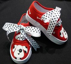 Hand Painted Girls Dalmatian Canvas Lace Up Shoes by tickledtoes, $36.00