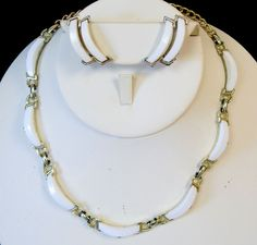 """This Beautiful Set is made of Textured and High Gloss Gold Tone accenting Arched White Thermoset. Looks like the very edge of some of the white thermoset need a cleaning, have been gently wiped. Pendant Measures: Adjustable Choker Length of 14"""" Long to a Necklace Length of 18"""" Long. 