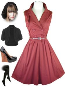 now in stock www.lebombshop.net  BURGUNDY 50s Style PINUP Double Breasted Sleevelss Day Dress w/Belted Full Skirt