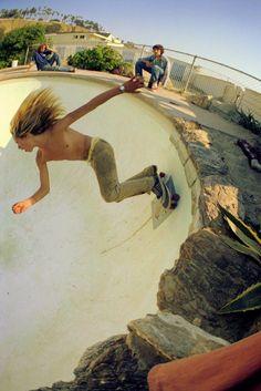"""Over the Light, Santa Monica"" 1976, skateboarding series by Hugh Holland."