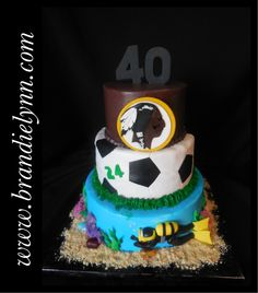 40th Birthday Cake for a man who likes to scuba, play soccer & loves the Redskins
