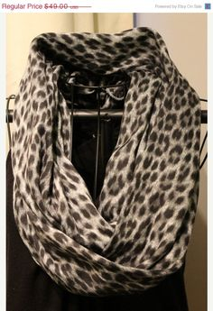 Black Friday Sale Snow Leopard Infinity Scarf  by ScarfLadyDesigns, $39.20