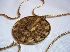 Vintage Tortolani Sun Dial Astrological Signs Pendant by junquegrl, $60.00