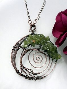 Wire Wrapped Tree of Life Pendant Necklace, Peridot Bonsai, Handcrafted Antiqued Copper Wire Jewelry, August Birthstone