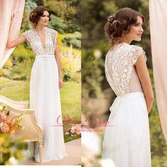 2015 Vestido De Noiva Summer Beach Wedding Dresses Sexy Cheap V Neck Lace Chiffon Sheer Back Sheath A Line Bridal Gowns 1443 Bridal Dresses Cheap Wedding Dresses From Olisha, $126.64| Dhgate.Com