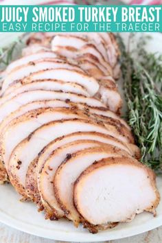 This Smoked Turkey Breast recipe will change your life! It creates the most TENDER & JUICY turkey breast you've ever eaten. And it's easy to make with a quick brine, rub & smoke! This recipe is perfect for a small Thanksgiving meal, but is also easy enough to toss on the smoker for a weekend dinner anytime of the year! Turkey Breast Smoker Recipe, Best Smoked Turkey Breast Recipe, Whole Turkey Recipes, Leftover Turkey Recipes, Easy Thanksgiving Recipes, Thanksgiving Meal, Easy Bbq Recipes, Free Recipes, Turkey Tenderloin