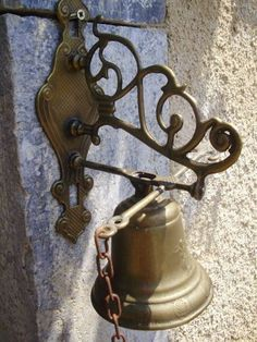 Pictures Of French Door Bell | French Vintage Brass Hanging Chain Pull Door  Bell Photo,