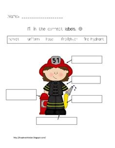Labeling is an important part of learning to write. Here is a simple worksheet where students can label the firefighter and his equipment.