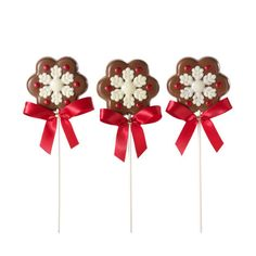 Milk Chocolate Snowflake Lollipops, Set of 3 #GODIVA ($18.00)