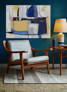 Art completes chill reading spot | abstract art painting | artwork by Danielle Nelisse |www.daniellenelisse.com