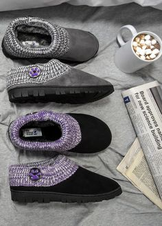 Feel the warmth radiate from your heart to your feet! Your fight for the cause doesn't take a break, but your feet can in these clog-style slippers featuring a cable knit upper with a purple paw print displayed on the hand-painted side button.