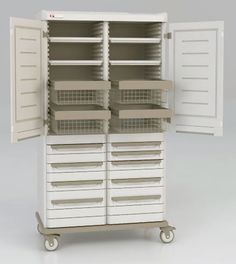 A PLACE for EVERYTHING and then some!  Metro's Starsys Double-Wide Mobile Supply Cabinet offers adjustable shelves, full extension baskets above and a variety of drawer sizes below with removable tote boxes for easy loading.  All interior components may be easily reconfigured on site as needs vary.  Constructed of advanced polymers infused with Microban antimicrobial product protection, this cabinet will not dent, chip, rust, flake or corrode.