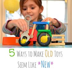 How to make old toys seem like new - while they were playing outside, I moved bins around and regrouped by theme/gender, keeping most on the floor for accessibility.