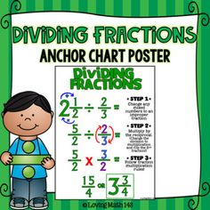 Dividing Fractions and Mixed Numbers Anchor Chart Poster - Math - This anchor chart poster is a great tool to display in your classroom. Students will be reminded th - Dividing Fractions, Math Fractions, Multiplication, Learning Fractions, Number Anchor Charts, Love Math, Math Notebooks, Homeschool Math, Teaching Math