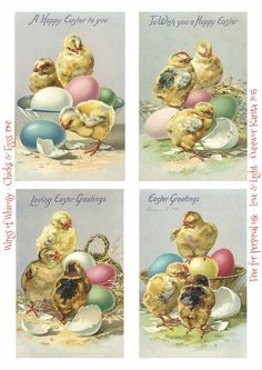 Wings rozmar: velikonoční kuřátka & barevné vejce #vintage #ephemera #freebie #printable #easter #chicks #eggs