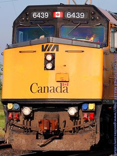 PLP17 by railtalk on Flickr. VIA's The Canadian slows for the stop at Portage la Prairie to let 2 passengers on.