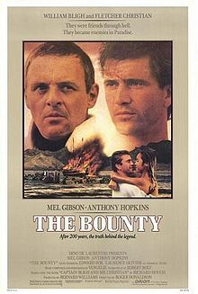 The Bounty //  Directed byRoger Donaldson  Produced byBernard Williams  Dino De Laurentiis  Screenplay byRobert Bolt  Based onCaptain Bligh and Mr. Christianby  Richard Hough  StarringMel Gibson  Anthony Hopkins  Laurence Olivier  Edward Fox  Daniel Day-Lewis  Liam Neeson  Music byVangelis  CinematographyArthur Ibbetson, BSC  Editing byTony Lawson  Distributed byOrion Pictures Corporation  Thorn EMI Screen Entertainment  Release date(s)  4 May 1984