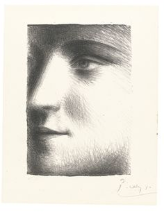 PABLO PICASSO 1881 - 1973 VISAGE DE MARIE-THÉRÈSE (B. 95; BA. 243; C. BKS 16; PP. XXIII.C) Estimate   12,000 — 18,000  GBP Lithograph, 1928, signed in pencil, numbered 17/25, from the Percier edition which also includes 75 impressions printed on Japan paper (total edition includes 14 artist's proofs and 225 impressions used for the frontispiece of the book Picasso by André Level), published by Galerie Percier, framed   plate: 204 by 142mm 8 1/8 by 5 5/8 in sheet: 269 by 209mm 10 5/8 by 8 1/4…
