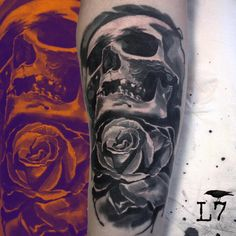 skull and rose.. black and grey tattoo