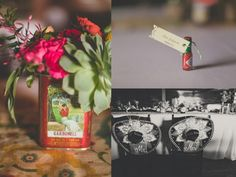 adorable mini Tobasco bottles for placecards and Sombreros for the bride Every detail was thought out for this fiesta themed wedding at Howell Family Farms in Arlington, TX.