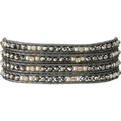 Chan Luu 32 Grey Mix/Grey Wrap Bracelet (Grey Mix/Grey) Bracelet ($68) ❤ liked on Polyvore featuring jewelry, bracelets, gold, leather jewelry, chan luu jewelry, leather bangles, wrap bracelet and leather wrap bracelet