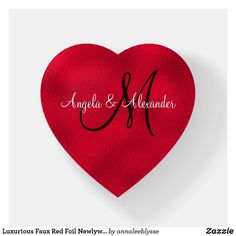 Luxurious Faux Red Foil Newlywed Monogram Paperweight Holiday Cards, Christmas Cards, Decoration Piece, Monogram Gifts, Photo Quality, Christmas Card Holders, Paper Weights, Hand Sanitizer, Newlyweds