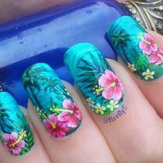 50 Flower Nail Designs for Spring | blue nails | Pinterest | Summer ...