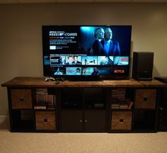 Ikea Hack - Kallax TV Stand with wooden top