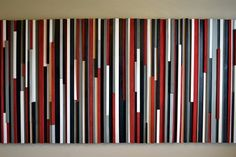 Wall Art Wood Sculpture Lines  Red Black Gray & by moderntextures, $1095.00