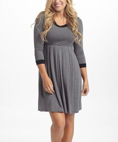 This Charcoal & Black Three-Quarter Sleeve Dress is perfect! #zulilyfinds