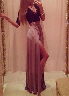 Elegant V Neck Lace Long Dress with Slit