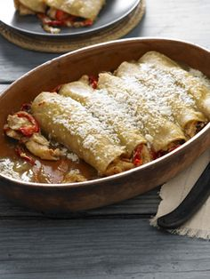 Recipes from The Nest - Chicken Enchiladas with Green Chile Sauce