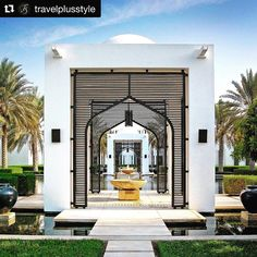 General Hotel Management is a collection of top luxury hotels & boutique resorts in Asia, Middle East & Europe with contemporary Asian design. The Chedi Muscat, Le Riad, Outdoor Spaces, Outdoor Decor, Asian Design, Garden Theme, Hotel Lobby, Facade Architecture, House Design