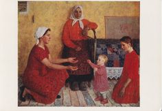 Y. Kugach Family Print Postcard  1971 by RussianSoulVintage