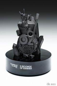 Channel V-Oz Artist Awards. Custom resin with custom paint finish on piano black base H: 250mm W: 200mm #bespoke #award
