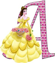 Alfabeto Decorativo: Alfabeto - Princesas - PNG - Maiúsculas e Minúscul...