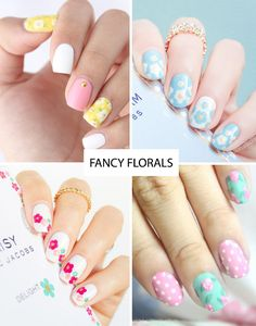 Pretty floral nail art inspired by Spring | Spring Nail Trends for 2015 | www.onefabday.com