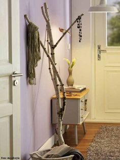 Birke als Garderobe, DIY