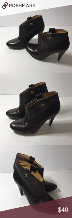 """Coach Aliza brown leather heel booties size 6 Coach brown leather """"Aliza"""" booties size 6B. Shoes do show signs of wearing, bottoms have lots of life left but the tips do have some scrapes as seen in the pictures. Coach Shoes Ankle Boots & Booties"""
