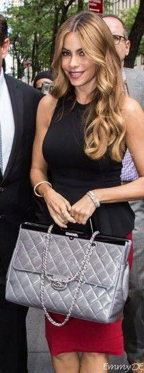 Emmy DE * #chanel rigid handle flap satchel ~ Sofia Vergara