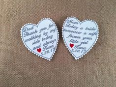 Mother of the Bride and Father of the Bride - 2 PIECE SET - Wedding Tie Patch, Vest Patch, Handkerchief Patch, Iron On Patch, Sew On Patch by VictoriaLynnBoutique on Etsy