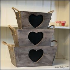 Rustic Wooden Heart Chalkboard Storage Crate Carrier Shabby Chic Box