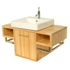 Sumi solid wood vanity unit -- love the storage space!