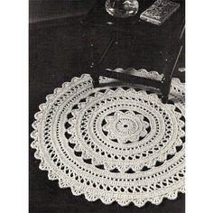 Crocheted Doily Rug PDF Pattern 36 in diameter Vintage 1960s   TodaysTreasure2 - Craft Supplies on ArtFire
