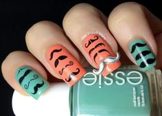 I Mustache You a Question by BornPrettyNails - Nail Art Gallery by Nails Magazine Best Gel Nail Polish, Nail Polish Trends, Us Nails, Hair And Nails, Matte Nails, Mustache Nail Art, Moustache, Nail Charms, Nail Art Supplies