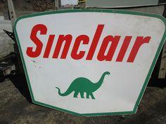 Old Vintage Porcelain Sinclair Sign not Neon Gas Oil Pump Large Car Garage Man | eBay