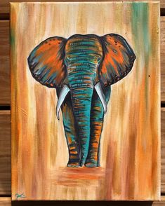 Cute Canvas Paintings, Canvas Painting Tutorials, Acrylic Painting Canvas, Animal Paintings, Canvas Art, Elephant Canvas Painting, Painting Art, Indian Paintings, Elephant Paintings