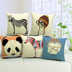 New Animal Printed Decorative Throw Sofa Pillow Case Cotton Linen Cushion Cover
